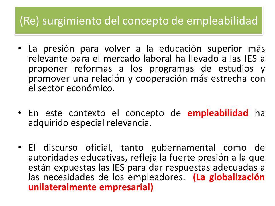 (Re) surgimiento del concepto de empleabilidad La presión para volver a la educación superior más relevante para el mercado laboral ha llevado a las I