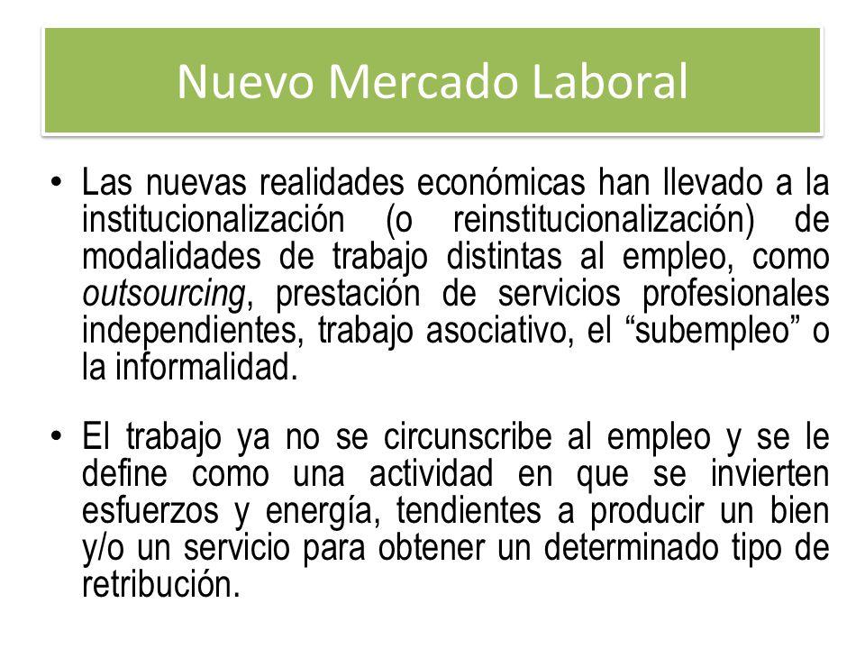 Nuevo Mercado Laboral Las nuevas realidades económicas han llevado a la institucionalización (o reinstitucionalización) de modalidades de trabajo dist