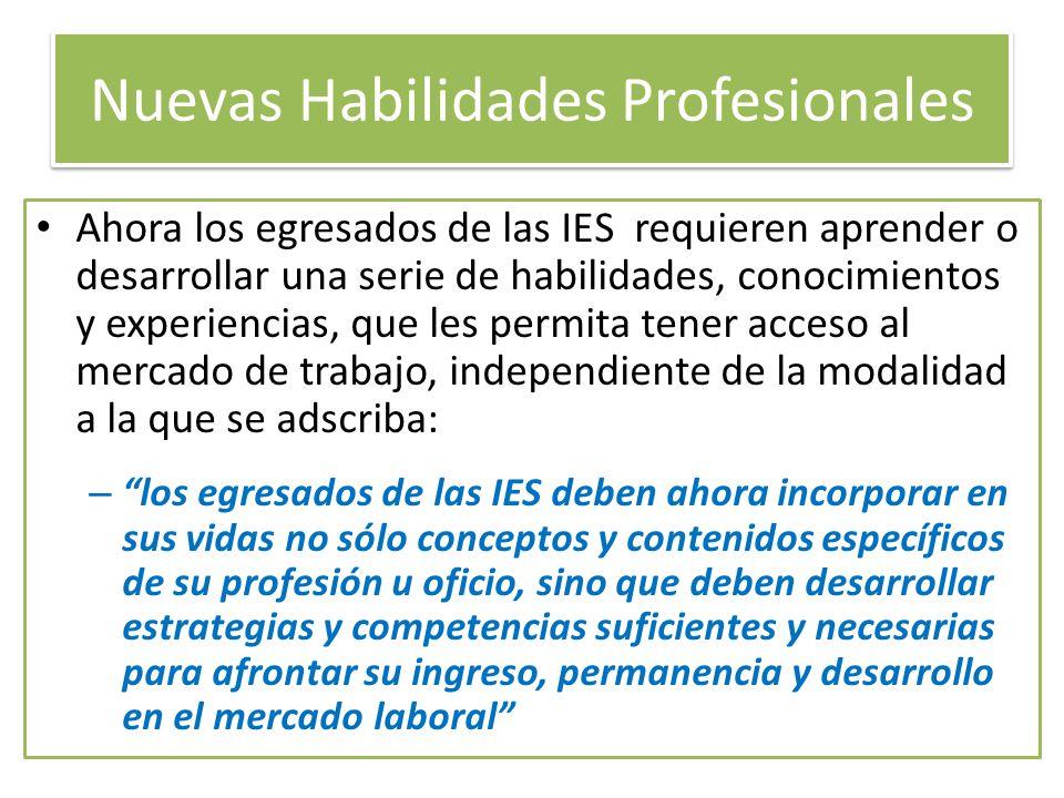 Nuevas Habilidades Profesionales Ahora los egresados de las IES requieren aprender o desarrollar una serie de habilidades, conocimientos y experiencia