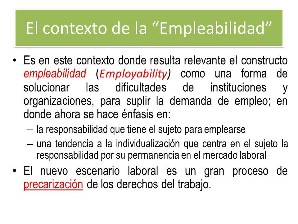 El contexto de la Empleabilidad Es en este contexto donde resulta relevante el constructo empleabilidad (Employability) como una forma de solucionar l