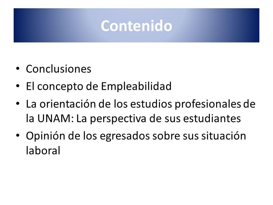 Contenido Conclusiones El concepto de Empleabilidad La orientación de los estudios profesionales de la UNAM: La perspectiva de sus estudiantes Opinión