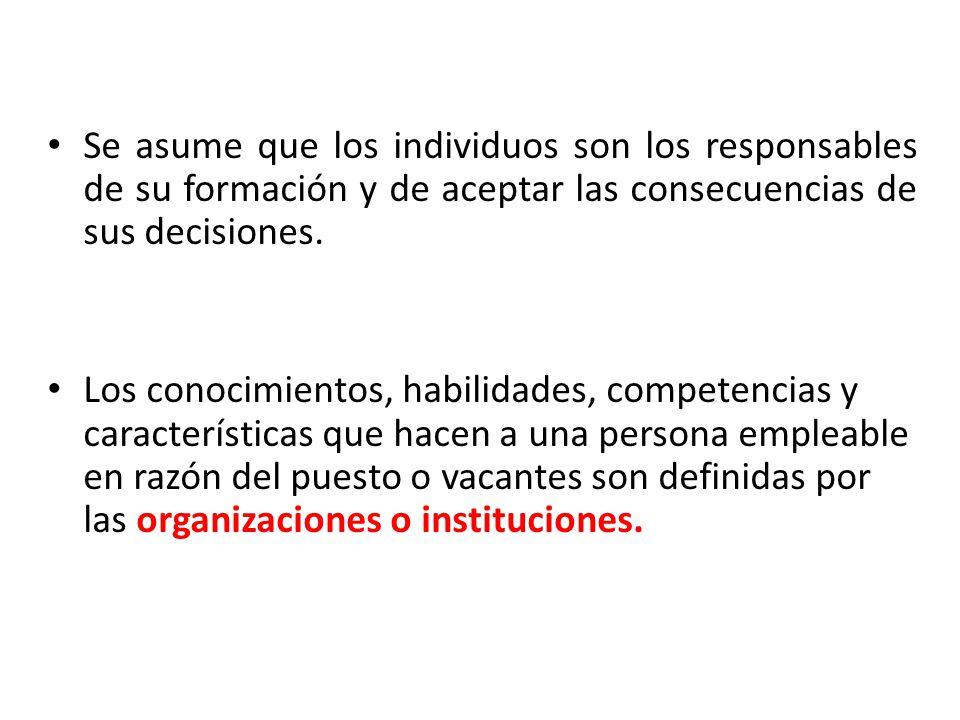 Se asume que los individuos son los responsables de su formación y de aceptar las consecuencias de sus decisiones. Los conocimientos, habilidades, com