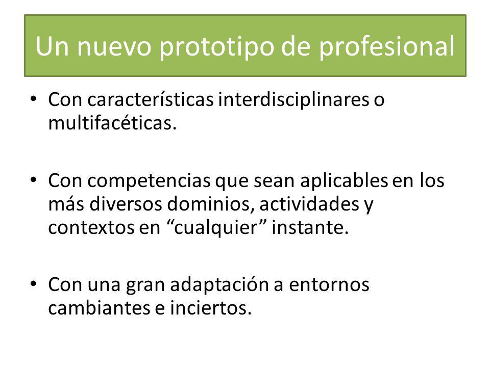 Un nuevo prototipo de profesional Con características interdisciplinares o multifacéticas. Con competencias que sean aplicables en los más diversos do