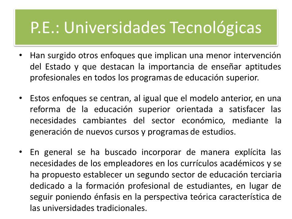 P.E.: Universidades Tecnológicas Han surgido otros enfoques que implican una menor intervención del Estado y que destacan la importancia de enseñar ap