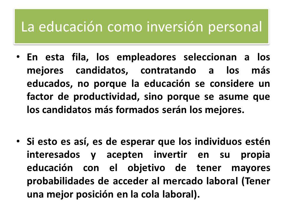En esta fila, los empleadores seleccionan a los mejores candidatos, contratando a los más educados, no porque la educación se considere un factor de p