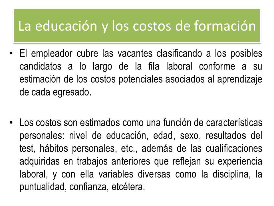 La educación y los costos de formación El empleador cubre las vacantes clasificando a los posibles candidatos a lo largo de la fila laboral conforme a