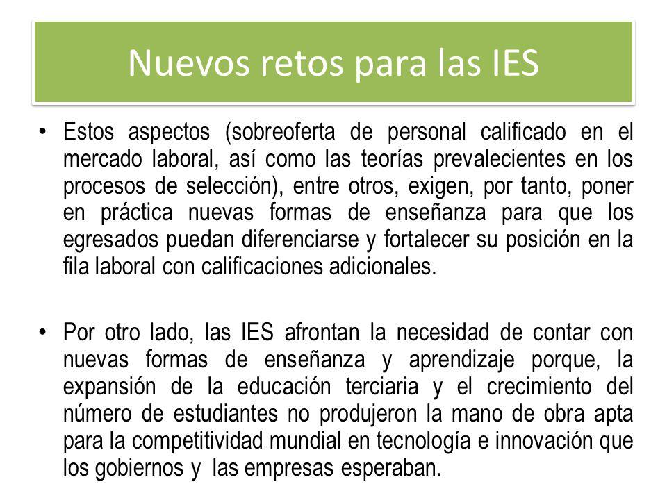 Nuevos retos para las IES Estos aspectos (sobreoferta de personal calificado en el mercado laboral, así como las teorías prevalecientes en los proceso