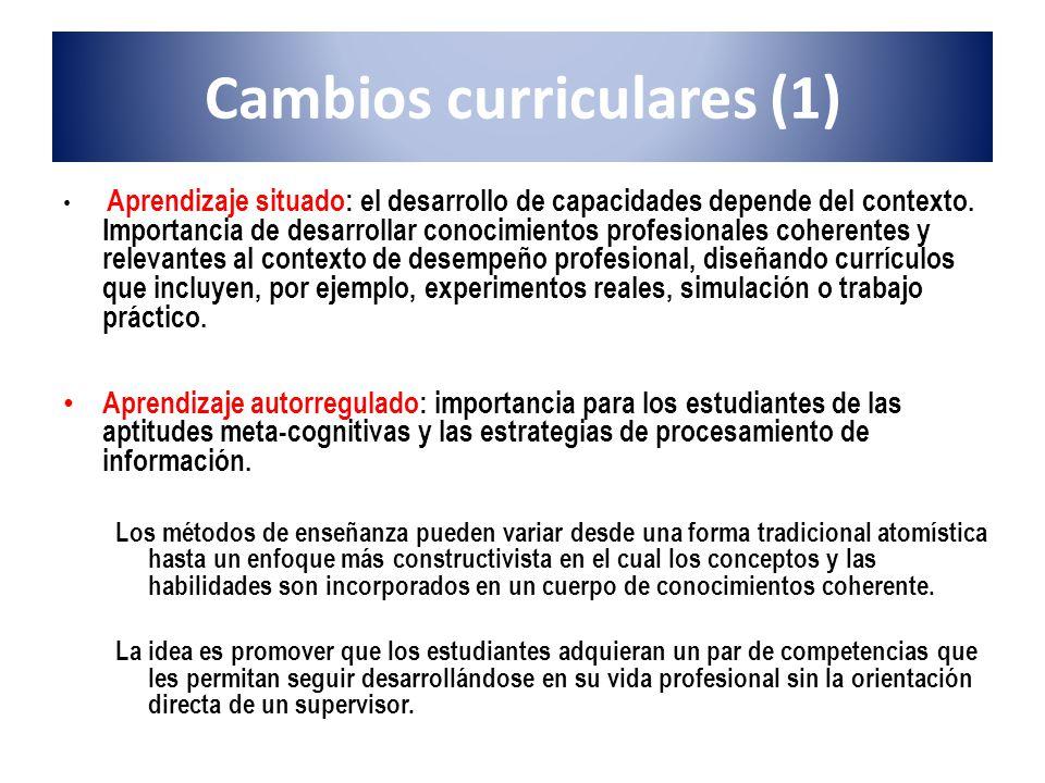 Cambios curriculares (1) Aprendizaje situado: el desarrollo de capacidades depende del contexto. Importancia de desarrollar conocimientos profesionale