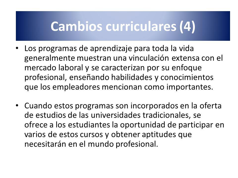 Los programas de aprendizaje para toda la vida generalmente muestran una vinculación extensa con el mercado laboral y se caracterizan por su enfoque p