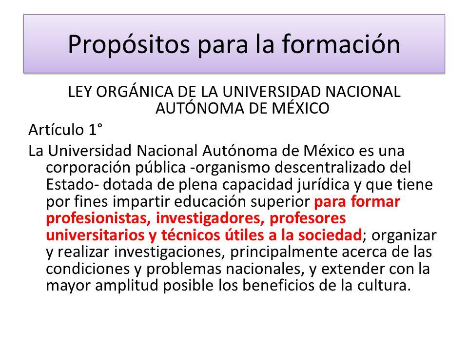 LEY ORGÁNICA DE LA UNIVERSIDAD NACIONAL AUTÓNOMA DE MÉXICO Artículo 1° La Universidad Nacional Autónoma de México es una corporación pública -organism