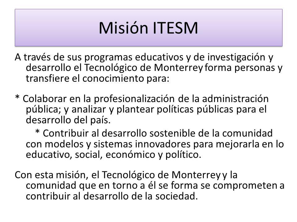 A través de sus programas educativos y de investigación y desarrollo el Tecnológico de Monterrey forma personas y transfiere el conocimiento para: * C