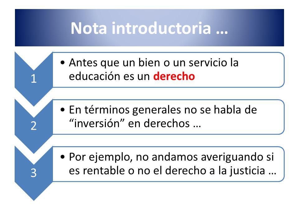 Nota introductoria … 1 Antes que un bien o un servicio la educación es un derecho 2 En términos generales no se habla de inversión en derechos … 3 Por