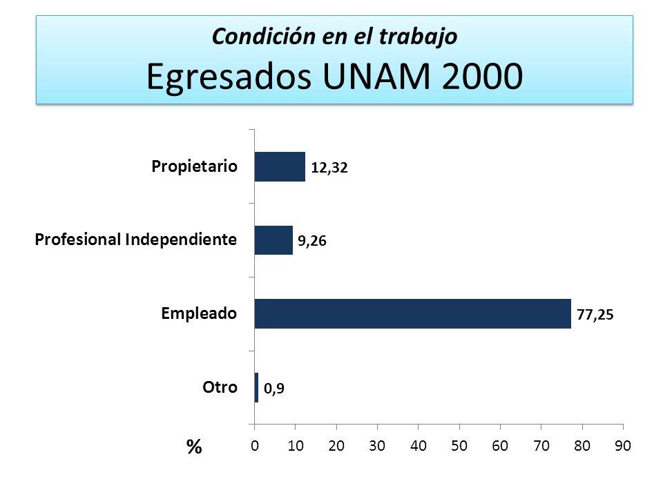 Condición en el trabajo Egresados UNAM 2000