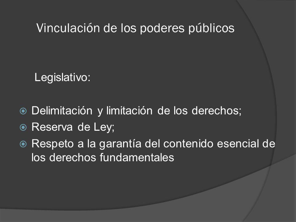 Vinculación de los poderes públicos Legislativo: Delimitación y limitación de los derechos; Reserva de Ley; Respeto a la garantía del contenido esencial de los derechos fundamentales