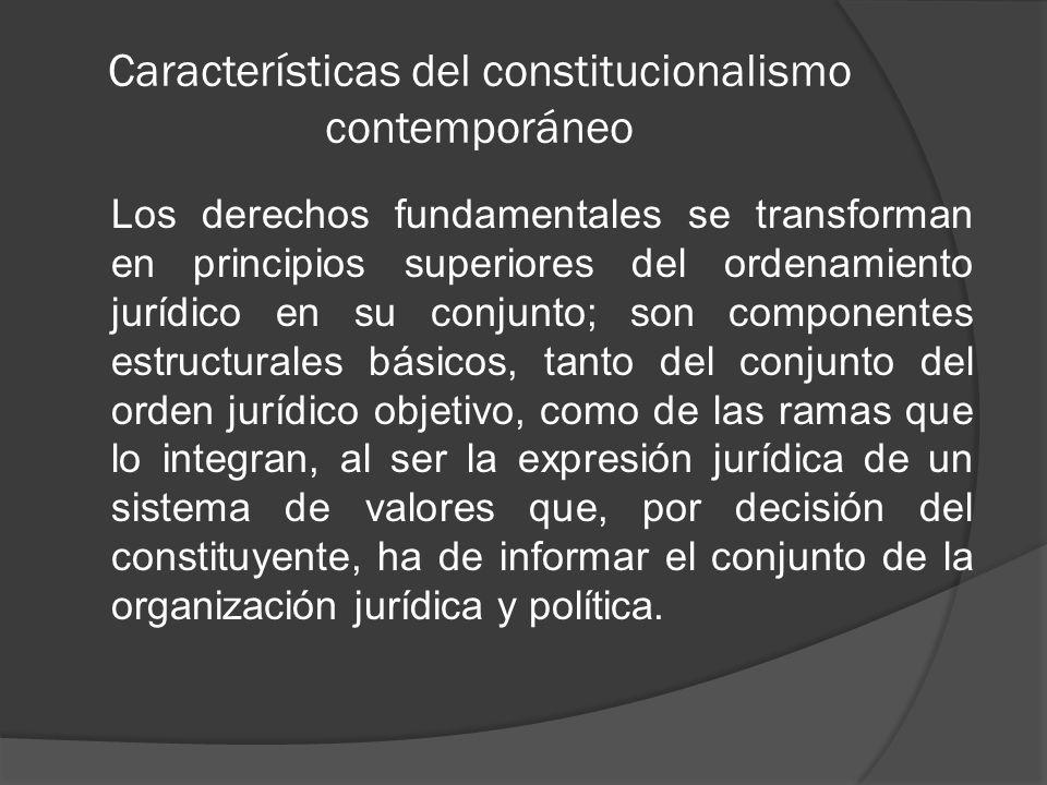 Características del constitucionalismo contemporáneo Como valores supremos que rigen para todo el ordenamiento jurídico también limitan las relaciones recíprocas entre particulares y fungen como mandatos de actuación y deberes de protección para el Estado.