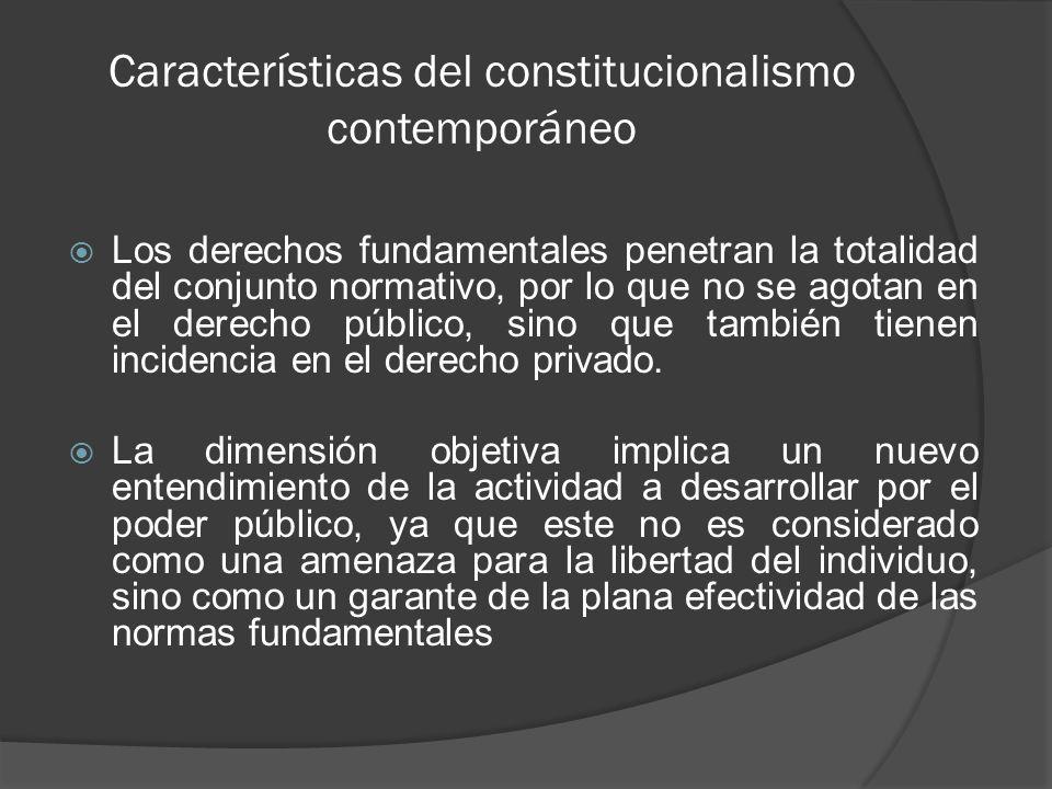 Características del constitucionalismo contemporáneo Fuerza normativa de la Constitución.