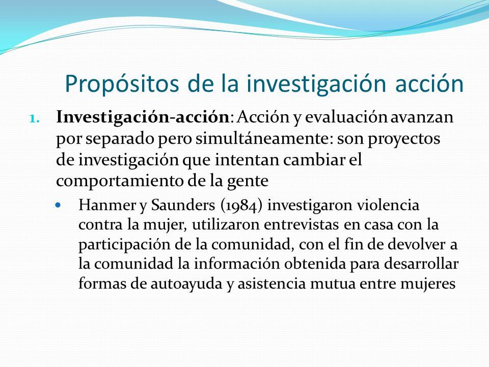 Propósitos de la investigación acción 1. Investigación-acción: Acción y evaluación avanzan por separado pero simultáneamente: son proyectos de investi