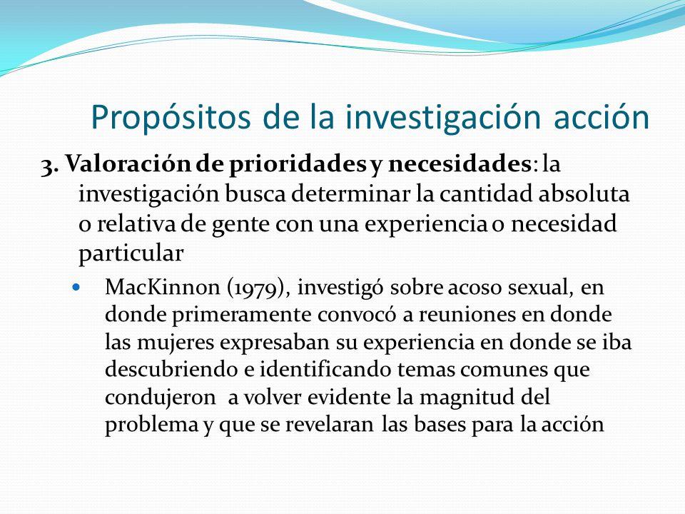 Propósitos de la investigación acción 3. Valoración de prioridades y necesidades: la investigación busca determinar la cantidad absoluta o relativa de