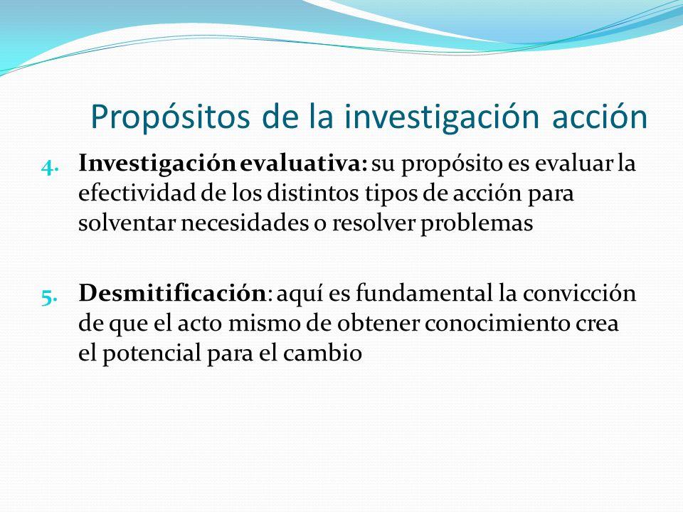 Propósitos de la investigación acción 4. Investigación evaluativa: su propósito es evaluar la efectividad de los distintos tipos de acción para solven