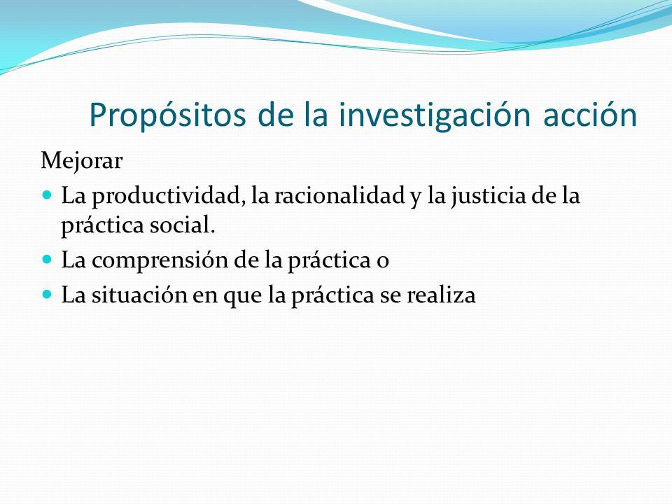 Propósitos de la investigación acción Mejorar La productividad, la racionalidad y la justicia de la práctica social. La comprensión de la práctica o L