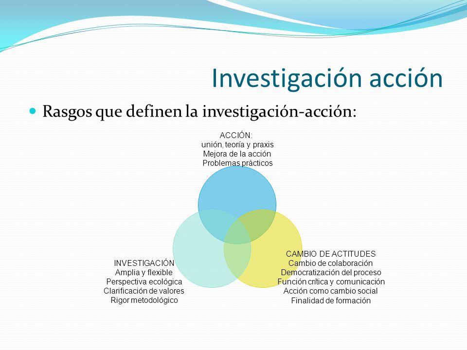 Investigación acción Rasgos que definen la investigación-acción: ACCIÓN: unión, teoría y praxis Mejora de la acción Problemas prácticos CAMBIO DE ACTI