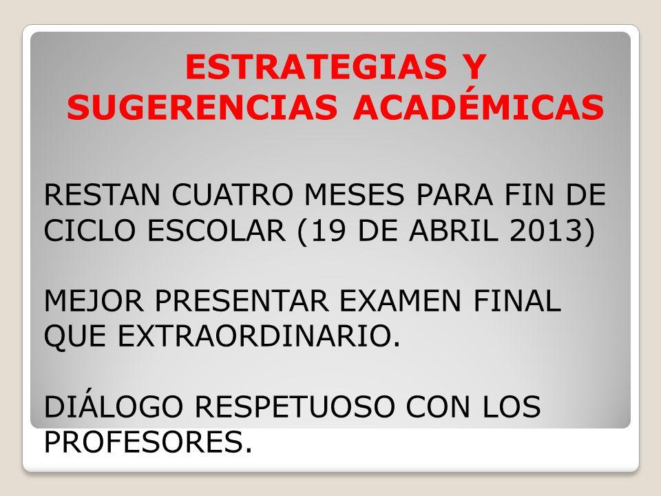 RESTAN CUATRO MESES PARA FIN DE CICLO ESCOLAR (19 DE ABRIL 2013) MEJOR PRESENTAR EXAMEN FINAL QUE EXTRAORDINARIO.