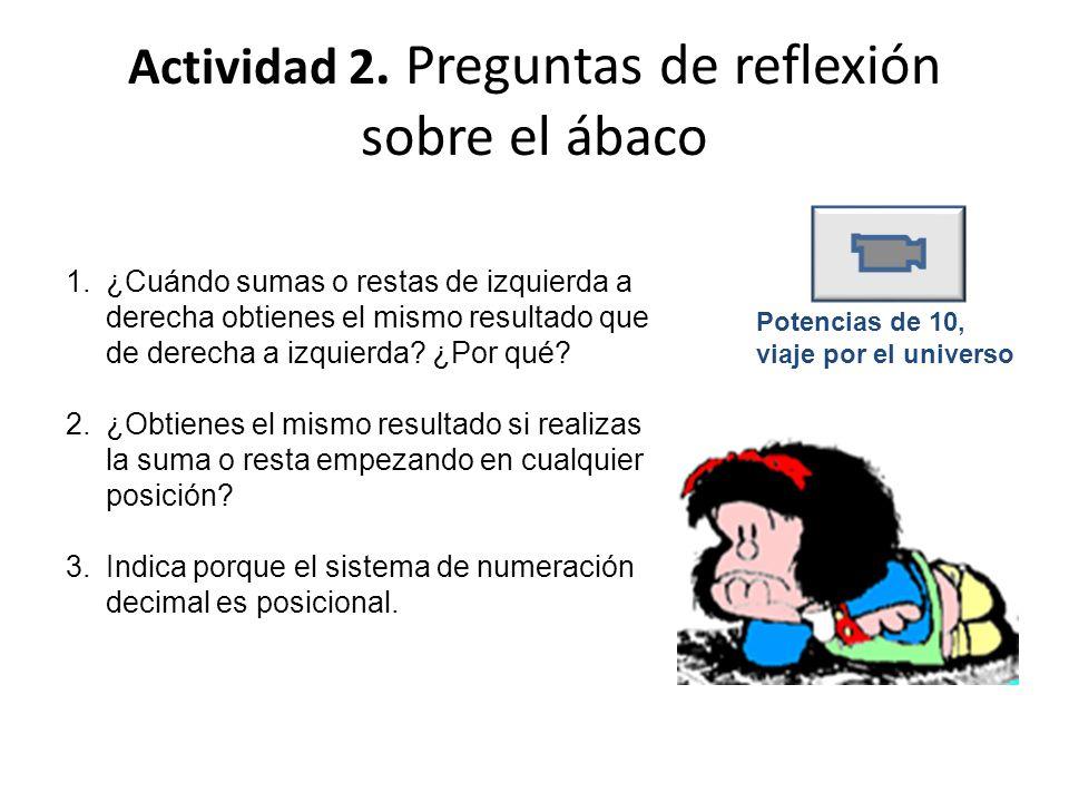 Actividad 2. Preguntas de reflexión sobre el ábaco 1.¿Cuándo sumas o restas de izquierda a derecha obtienes el mismo resultado que de derecha a izquie