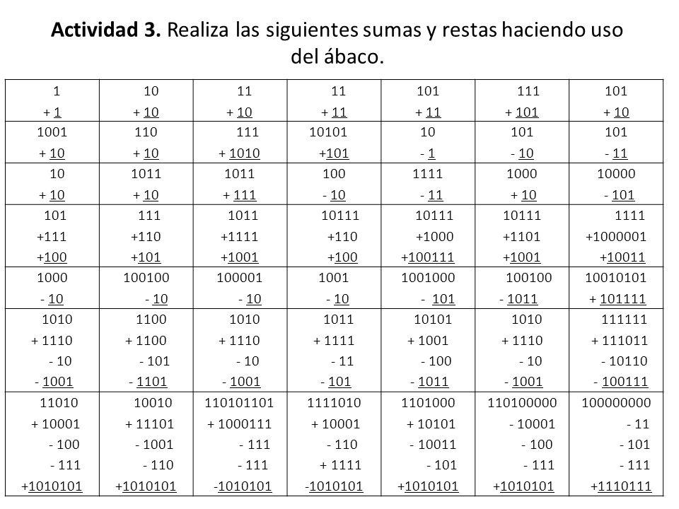 Actividad 3. Realiza las siguientes sumas y restas haciendo uso del ábaco. 1 + 1 10 + 10 11 + 10 11 + 11 101 + 11 111 + 101 101 + 10 1001 + 10 110 + 1