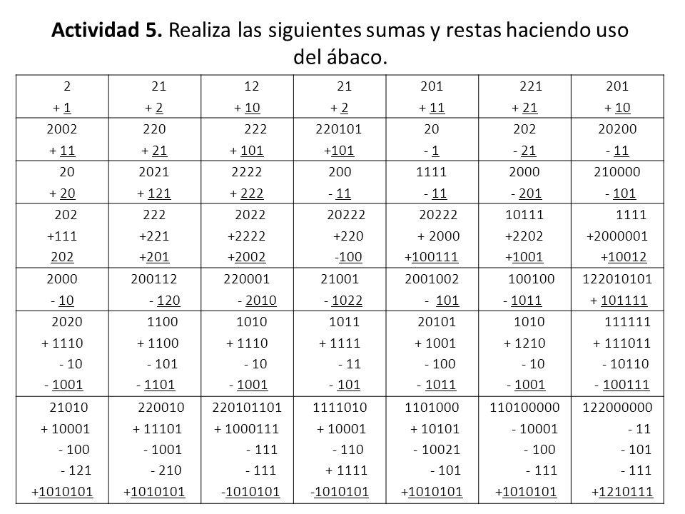 Actividad 5. Realiza las siguientes sumas y restas haciendo uso del ábaco. 2 + 1 21 + 2 12 + 10 21 + 2 201 + 11 221 + 21 201 + 10 2002 + 11 220 + 21 2