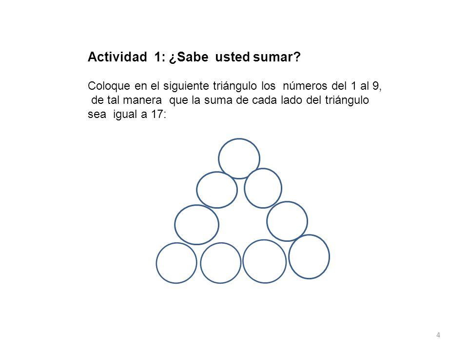 Actividad 1: ¿Sabe usted sumar? Coloque en el siguiente triángulo los números del 1 al 9, de tal manera que la suma de cada lado del triángulo sea igu