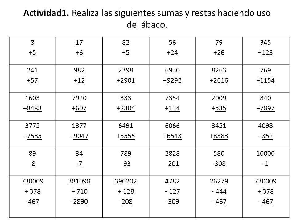Actividad1. Realiza las siguientes sumas y restas haciendo uso del ábaco. 8+58+5 17 +6 82 +5 56 +24 79 +26 345 +123 241 +57 982 +12 2398 +2901 6930 +9
