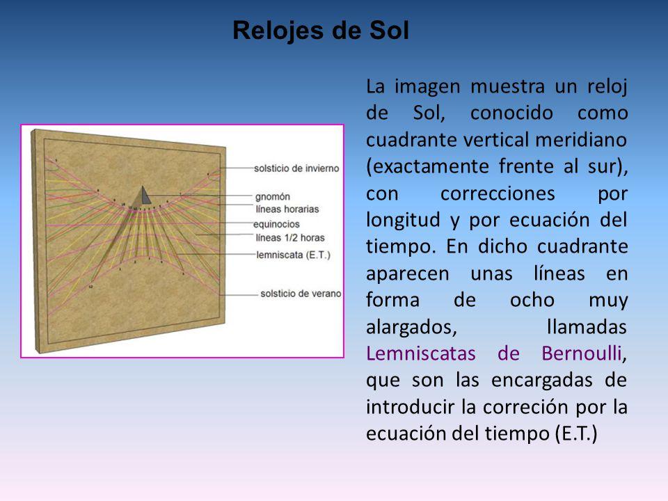 La imagen muestra un reloj de Sol, conocido como cuadrante vertical meridiano (exactamente frente al sur), con correcciones por longitud y por ecuación del tiempo.