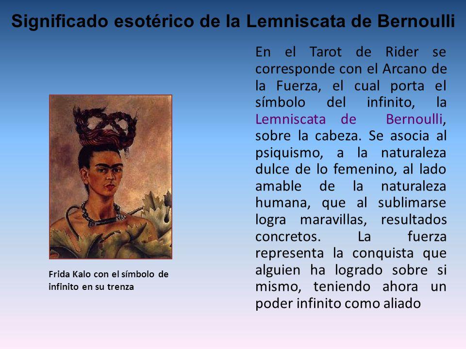 En el Tarot de Rider se corresponde con el Arcano de la Fuerza, el cual porta el símbolo del infinito, la Lemniscata de Bernoulli, sobre la cabeza.