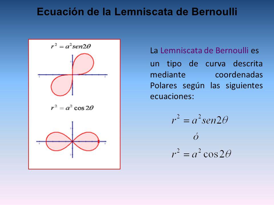La Lemniscata de Bernoulli es un tipo de curva descrita mediante coordenadas Polares según las siguientes ecuaciones: Ecuación de la Lemniscata de Bernoulli