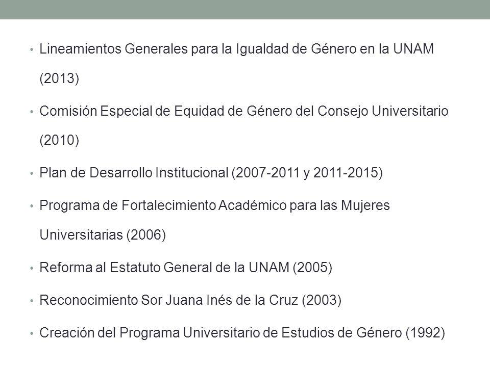 Lineamientos Generales para la Igualdad de Género en la UNAM (2013) Comisión Especial de Equidad de Género del Consejo Universitario (2010) Plan de De