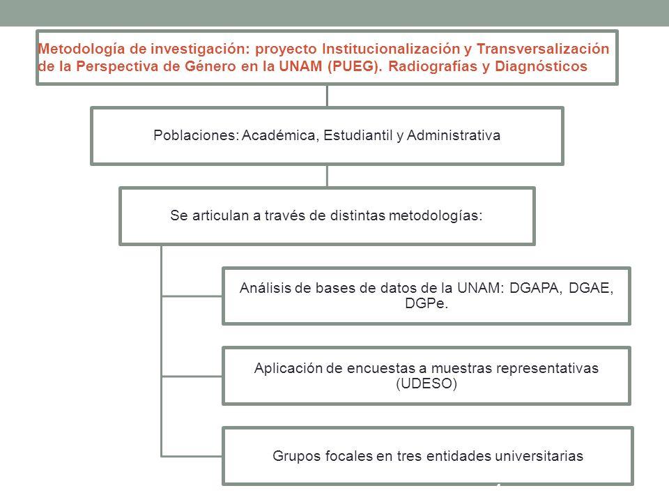 Ejes de presentación Tendencias de segregación por sexo (población académica y estudiantil) Discriminación y hostigamiento: prácticas comunes en la comunidad universitaria Familia y trabajo: un dilema sin resolver