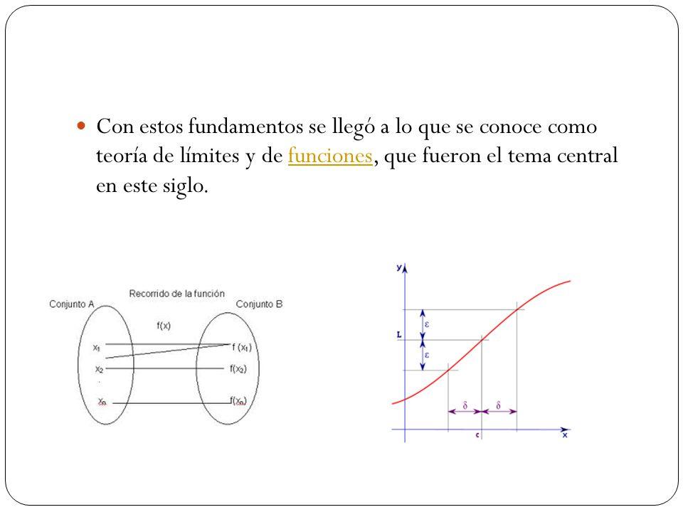 Con estos fundamentos se llegó a lo que se conoce como teoría de límites y de funciones, que fueron el tema central en este siglo.funciones