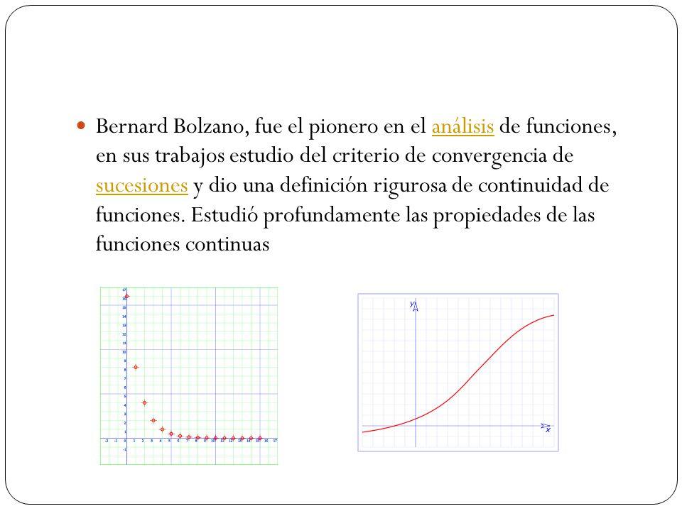 Bernard Bolzano, fue el pionero en el análisis de funciones, en sus trabajos estudio del criterio de convergencia de sucesiones y dio una definición r