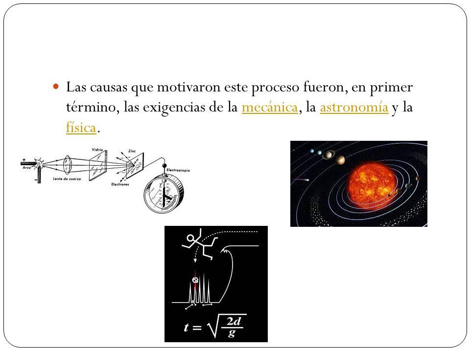 Las causas que motivaron este proceso fueron, en primer término, las exigencias de la mecánica, la astronomía y la física.mecánicaastronomía física