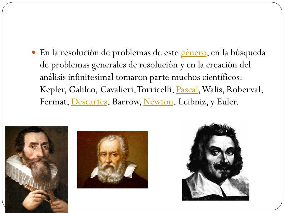 En la resolución de problemas de este género, en la búsqueda de problemas generales de resolución y en la creación del análisis infinitesimal tomaron