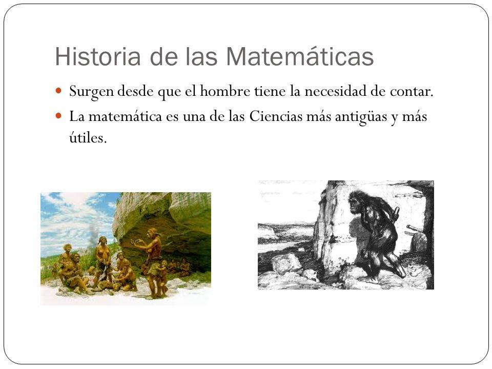 Historia de las Matemáticas Surgen desde que el hombre tiene la necesidad de contar. La matemática es una de las Ciencias más antigüas y más útiles.