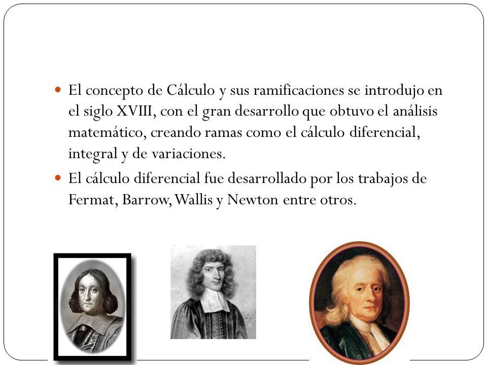 El concepto de Cálculo y sus ramificaciones se introdujo en el siglo XVIII, con el gran desarrollo que obtuvo el análisis matemático, creando ramas co