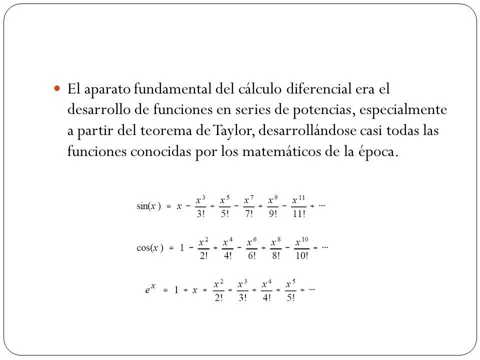 El aparato fundamental del cálculo diferencial era el desarrollo de funciones en series de potencias, especialmente a partir del teorema de Taylor, de