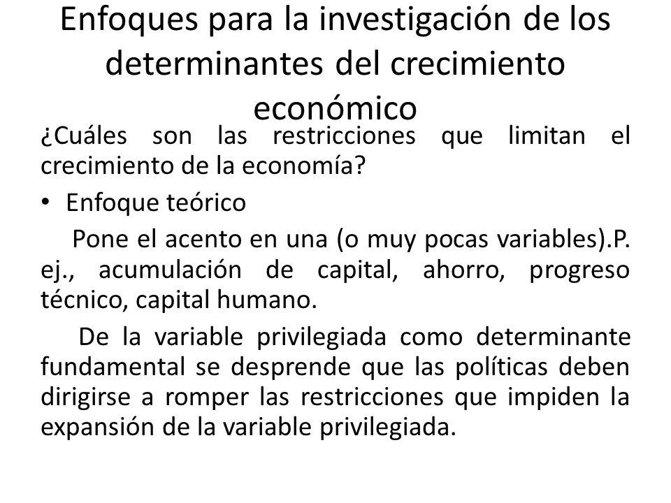 Enfoques para la investigación de los determinantes del crecimiento económico ¿Cuáles son las restricciones que limitan el crecimiento de la economía.