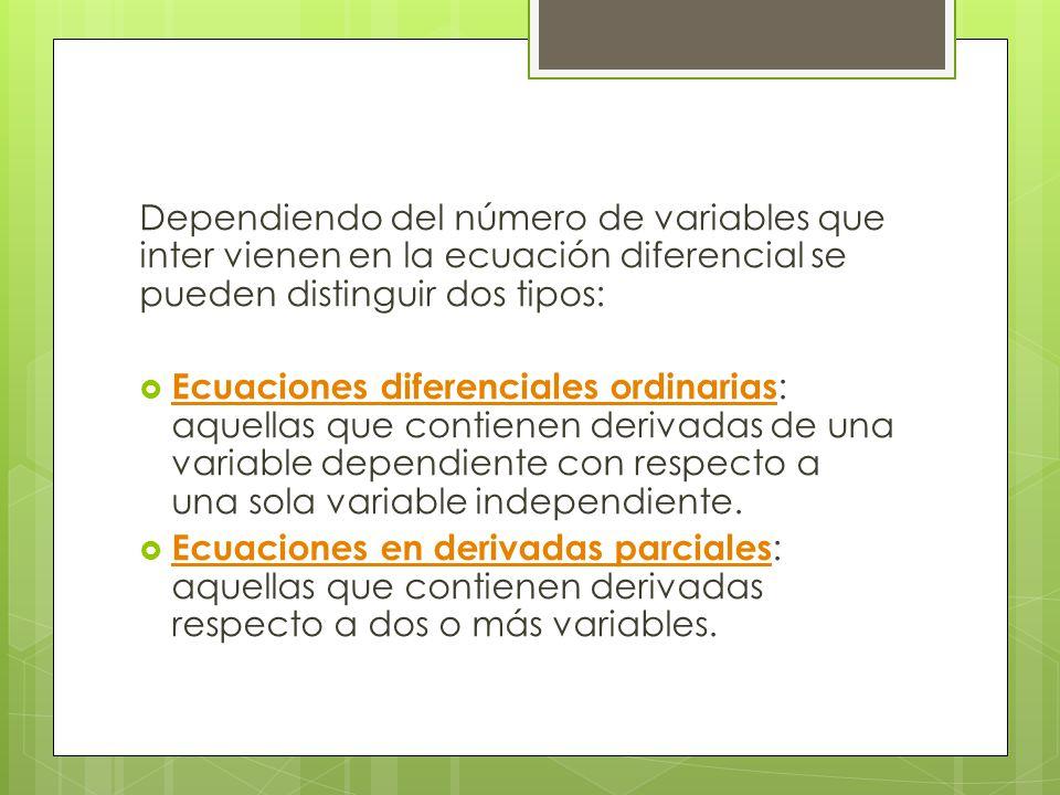 Clasificación de las ecuaciones diferenciales Ecuaciones diferenciales Ecuaciones diferenciales en ordinarias derivadas parciales