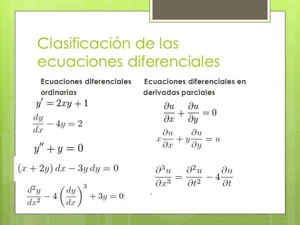 Clasificación de las ecuaciones diferenciales ORDEN.