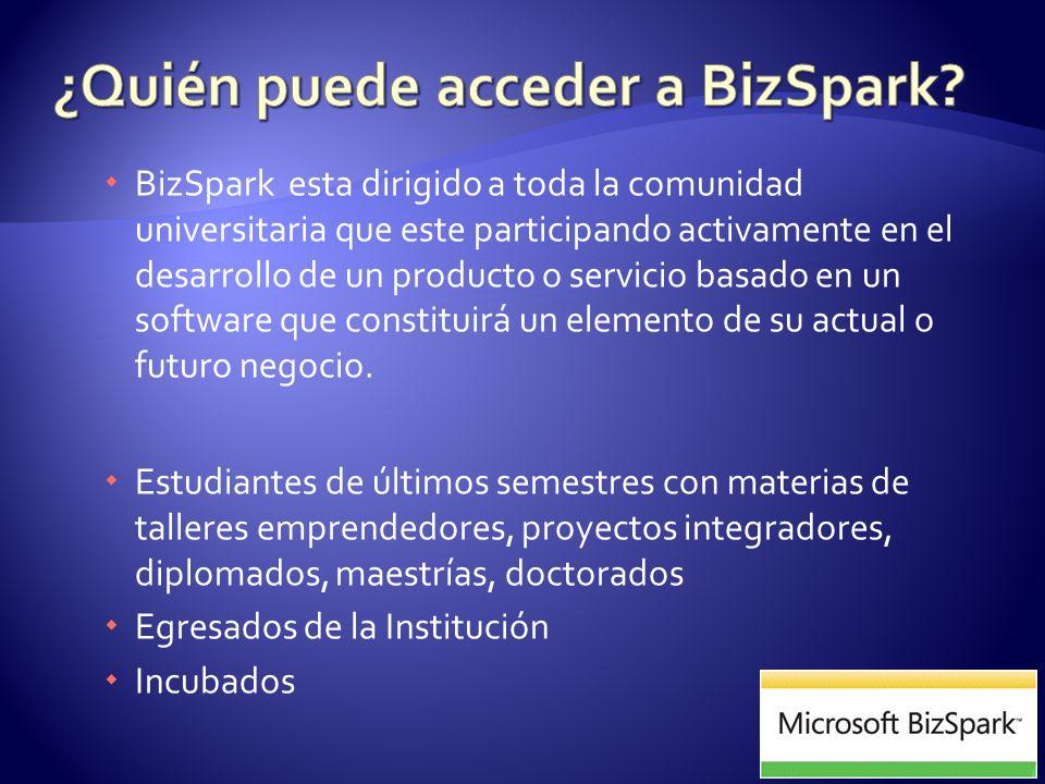 BizSpark esta dirigido a toda la comunidad universitaria que este participando activamente en el desarrollo de un producto o servicio basado en un software que constituirá un elemento de su actual o futuro negocio.