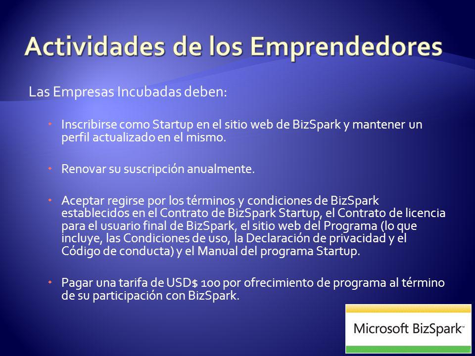 Las Empresas Incubadas deben: Inscribirse como Startup en el sitio web de BizSpark y mantener un perfil actualizado en el mismo.