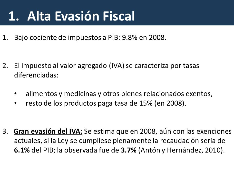 1.Bajo cociente de impuestos a PIB: 9.8% en 2008.