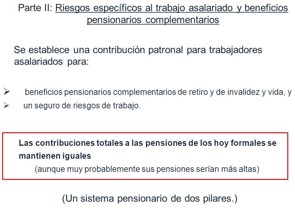 1. Motivation Parte II: Riesgos específicos al trabajo asalariado y beneficios pensionarios complementarios Se establece una contribución patronal par